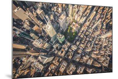 Aerial photograph taken from a helicopter in New York City, New York, USA-Stephane Legrand-Mounted Photographic Print