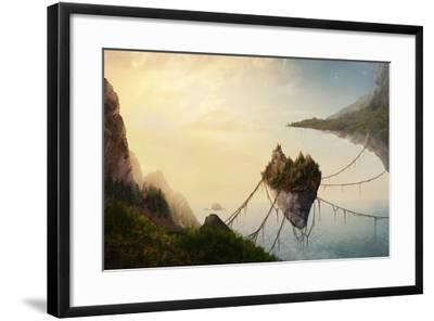 A Surreal Landscape at Sunset with Floating Islands.-Amanda Carden-Framed Photographic Print