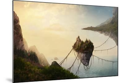 A Surreal Landscape at Sunset with Floating Islands.-Amanda Carden-Mounted Photographic Print