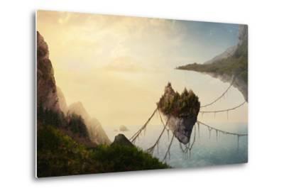 A Surreal Landscape at Sunset with Floating Islands.-Amanda Carden-Metal Print