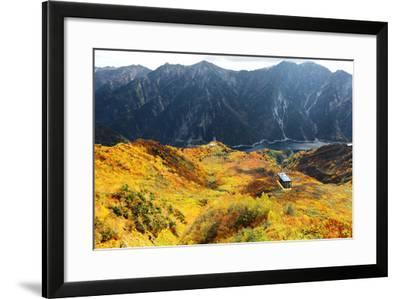 Aerial Panorama of a Scenic Cable Car Flying over the Beautiful Autumn Valley in Tateyama Kurobe Al-CHEN MIN CHUN-Framed Photographic Print