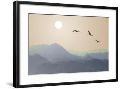 Migrating Cranes to the Sun over the Mountains-Protasov AN-Framed Photographic Print