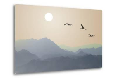Migrating Cranes to the Sun over the Mountains-Protasov AN-Metal Print