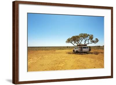 Finding Shade under a Lone Tree While Traveling in the Australian Outback in a Campervan.-Pics by Nick-Framed Photographic Print