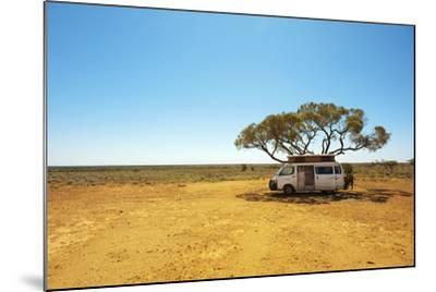 Finding Shade under a Lone Tree While Traveling in the Australian Outback in a Campervan.-Pics by Nick-Mounted Photographic Print