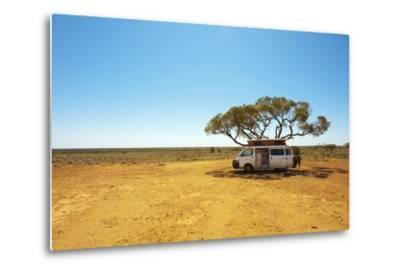 Finding Shade under a Lone Tree While Traveling in the Australian Outback in a Campervan.-Pics by Nick-Metal Print