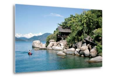 A Paddler Explores the Scenic Rock Formations of the Islands of Lake Malawi, Malawi, Africa, in His- SAPhotog-Metal Print