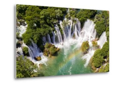 Aerial View of Waterfall with Rainbow-Studio Hrg-Metal Print