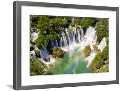 Aerial View of Waterfall with Rainbow-Studio Hrg-Framed Photographic Print