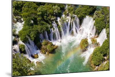 Aerial View of Waterfall with Rainbow-Studio Hrg-Mounted Photographic Print