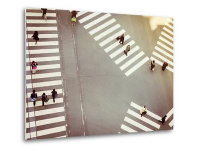 Crossing Sign Top View with People Walking Business Area-VTT Studio-Metal Print