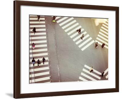 Crossing Sign Top View with People Walking Business Area-VTT Studio-Framed Photographic Print