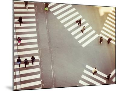 Crossing Sign Top View with People Walking Business Area-VTT Studio-Mounted Photographic Print