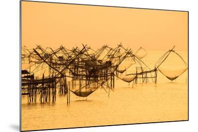 Thai Style Fishing Trap in Pak Pra Village, Net Fishing Thailand, Thailand Shrimp Fishing, Phatthal-Take Photo-Mounted Photographic Print