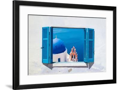 Traditional Architecture of Oia Village on Santorini Island, Greece-Yiannis Papadimitriou-Framed Photographic Print