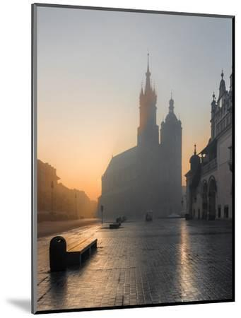 Krakow, Poland, St Mary's Church and Sukiennice (Cloth Hall) on the Main Market Square in Morning F-Tomasz Mazon-Mounted Photographic Print