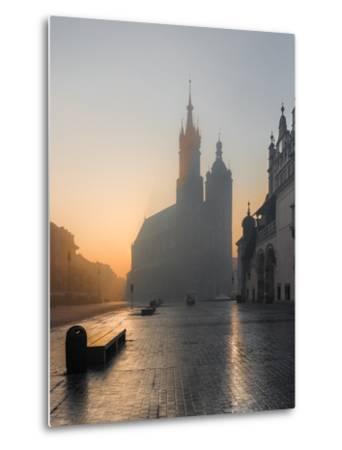 Krakow, Poland, St Mary's Church and Sukiennice (Cloth Hall) on the Main Market Square in Morning F-Tomasz Mazon-Metal Print