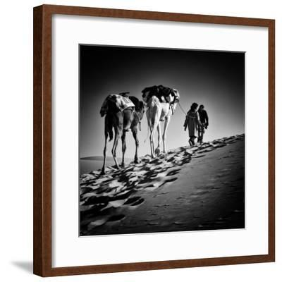 Square Black & White Image of 2 Men and 2 Camels in Sahara Desert-ABO PHOTOGRAPHY-Framed Photographic Print