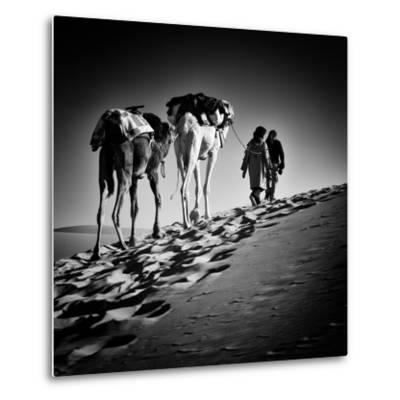 Square Black & White Image of 2 Men and 2 Camels in Sahara Desert-ABO PHOTOGRAPHY-Metal Print