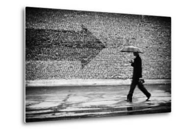 Wrong Way. A Man with Umbrella. Conceptual Image, Film Grain Added-Drop of Light-Metal Print