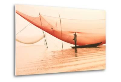 Unidentified Fisherman Checks His Nets in Early Morning on River in Hoian, Vietnam-Jimmy Tran-Metal Print