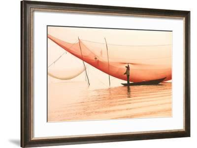 Unidentified Fisherman Checks His Nets in Early Morning on River in Hoian, Vietnam-Jimmy Tran-Framed Photographic Print