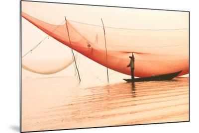 Unidentified Fisherman Checks His Nets in Early Morning on River in Hoian, Vietnam-Jimmy Tran-Mounted Photographic Print