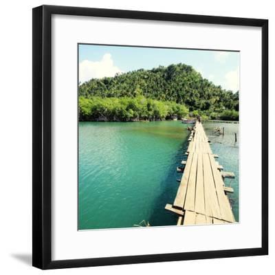 Baracoa, Cuba - Rio Miel Bridge, Part of Alejandro De Humboldt National Park. Cross Processed Color-Tupungato-Framed Photographic Print