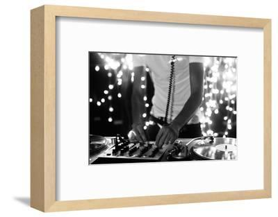 A Cool Male Dj on the Turntables-dubassy-Framed Photographic Print