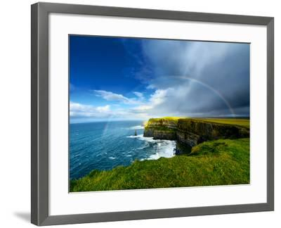 Rainbow above Cliffs of Moher. Ireland.-liseykina-Framed Photographic Print