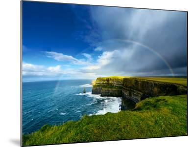 Rainbow above Cliffs of Moher. Ireland.-liseykina-Mounted Photographic Print