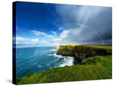 Rainbow above Cliffs of Moher. Ireland.-liseykina-Stretched Canvas Print
