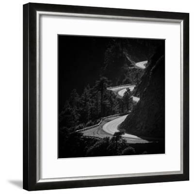 Winding Mountain Road in Black and White-Bryce Eilenberg-Framed Photographic Print