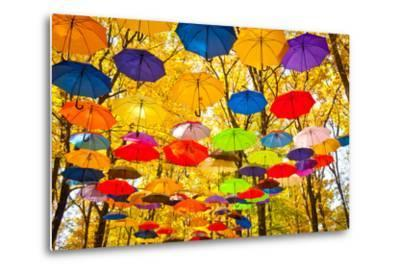 Autumn Umbrellas in the Sky-Oleksii Pyltsyn-Metal Print