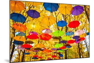 Autumn Umbrellas in the Sky-Oleksii Pyltsyn-Mounted Photographic Print