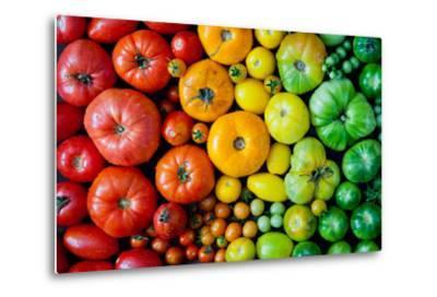 Fresh Heirloom Tomatoes Background, Organic Produce at a Farmer's Market. Tomatoes Rainbow.-Letterberry-Metal Print