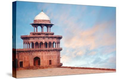 Fort Tower, Detail of Taj Mahal Architectural Complex in Agra, India-Serg Zastavkin-Stretched Canvas Print