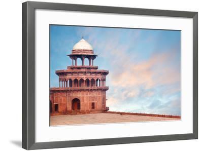 Fort Tower, Detail of Taj Mahal Architectural Complex in Agra, India-Serg Zastavkin-Framed Photographic Print