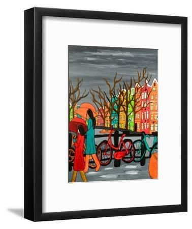 An Original Acrylic Painting on Canvas. A Tranquil Scene of a Rainy Evening in Old Amsterdam, Holla-Simon Booth-Framed Photographic Print