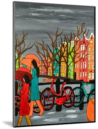 An Original Acrylic Painting on Canvas. A Tranquil Scene of a Rainy Evening in Old Amsterdam, Holla-Simon Booth-Mounted Photographic Print