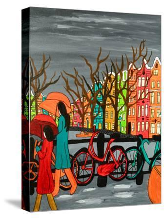 An Original Acrylic Painting on Canvas. A Tranquil Scene of a Rainy Evening in Old Amsterdam, Holla-Simon Booth-Stretched Canvas Print