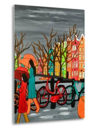 An Original Acrylic Painting on Canvas. A Tranquil Scene of a Rainy Evening in Old Amsterdam, Holla-Simon Booth-Metal Print