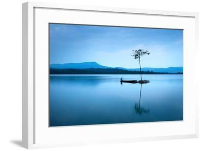 Natural Landscape in Blue. A Boat Floating in Smooth Water at Tranquil Lake .Many Traveller Come Fo- worradirek-Framed Photographic Print