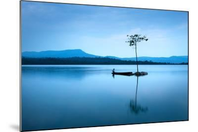 Natural Landscape in Blue. A Boat Floating in Smooth Water at Tranquil Lake .Many Traveller Come Fo- worradirek-Mounted Photographic Print