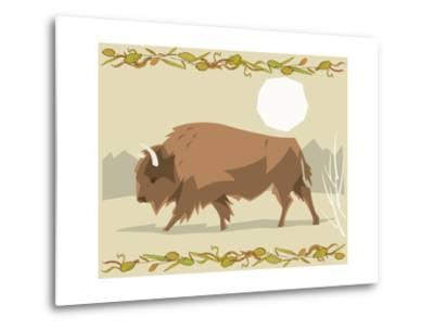 Bison in a Decorative Illustration-Artistan-Metal Print