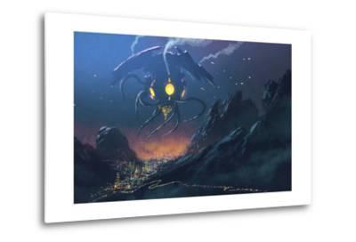 Sci-Fi Scene of the Alien Ship Invading Night City,Illustration Painting-Tithi Luadthong-Metal Print