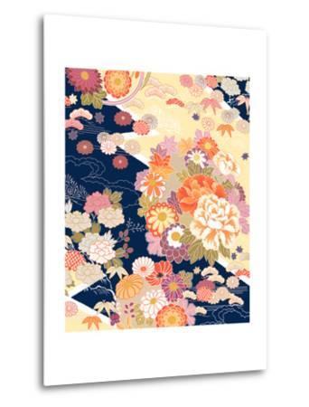 Traditional Kimono Motifs- malamalama-Metal Print