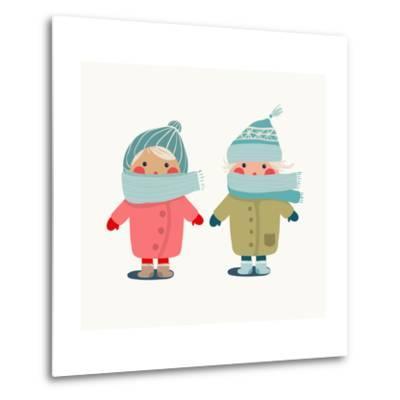 Children in Winter Cloth. Winter Kids Outfit Childish Illustration. Raster Variant.-Popmarleo-Metal Print