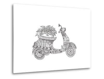 Hand-Drawn Scooter with Ethnic Floral Doodle Pattern. Coloring Page - Zendala, Design for Spiritual-Evgeniya Anfimova-Metal Print
