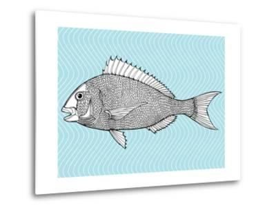 Stylized Fish. Sea Fish. Dorado. Black and White Drawing by Hand. Line Art. Tattoo. Doodle. Graphic-In Art-Metal Print